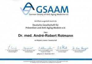 GSAAM Zertifikat Deutsche Gesellschaft für Prävention und Anti-Aging Medizin Dr. Rotmann Frauenarzt Rodgau