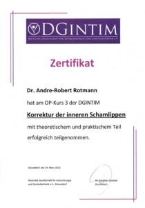 Zertifikat Schamlippen Operation Dr Rotmann Frauenarzt Rodgau