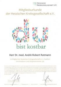 Zertifikat Mitglied Hessische Krebsgesellschaft Dr. Rotmann Frauenarzt Rodgau